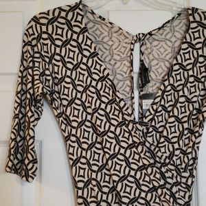 BCBG Black and Cream geo-print faux wrap dress